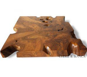 Cheriebianca.com teak root furniture cube table glass 76x76x9cm 350