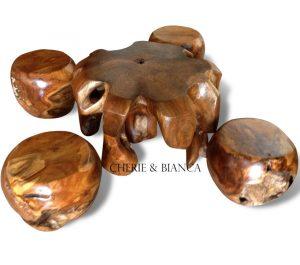 Cheriebianca.com teak root furniture meteor table 4 stool