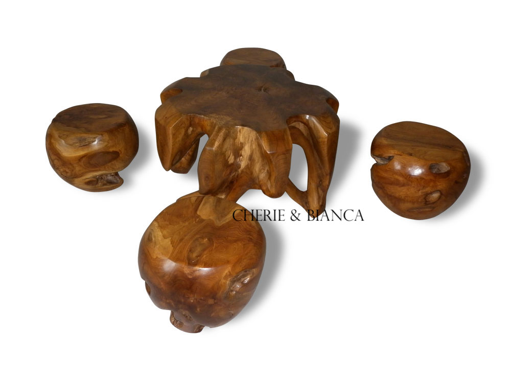cheriebianca.com Teak Root Furniture Meteor Table 4 Stool-80x80x45cm