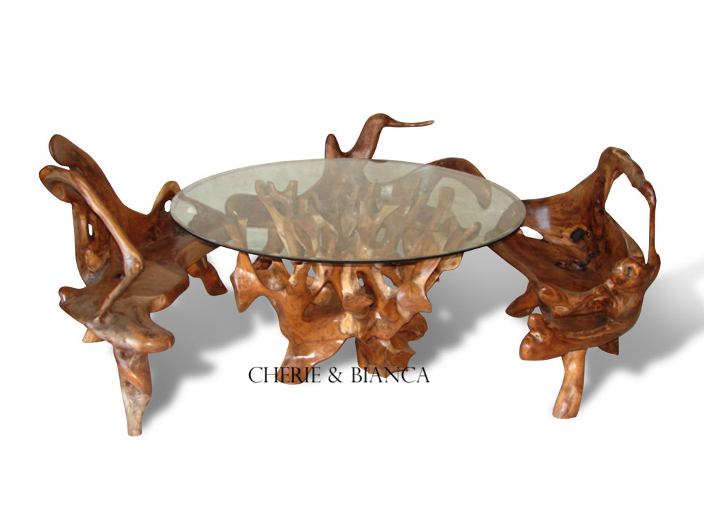 root-004a, cheriebianca.com Teak Root Furniture Abstract Coffee table 4 Cut Side Chairs