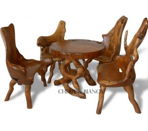 Root 01cheriebianca.com teak root furniture abstract coffee table 4 cut side chairs 90x90x77cm