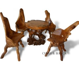 Root 02cheriebianca.com teak root furniture abstract coffee table 4 cut side chairs 80x80x77cm