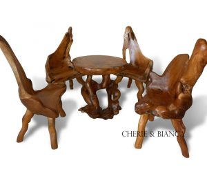 Root 03cheriebianca.com teak root furniture abstract coffee table 4 cut side chairs 75x75x77cm
