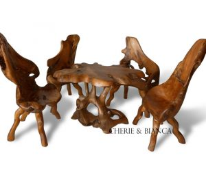 Root 05cheriebianca.com teak root furniture mushroom table set with 4 chair 115x90x77cm