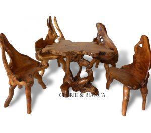 Root 29cheriebianca.com teak root furniture mushroom table set with 4 chair 107x85x77cm