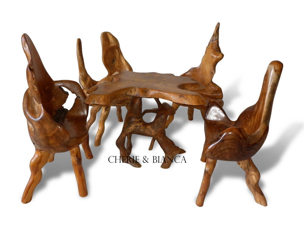 root-30,cheriebianca.com Teak Root Furniture Mushroom Table Set With 4 Chair,-100x100x77cm