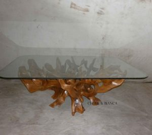 Cheriebianca.com Tree Teak Root Furniture 7125a dinning table glass square 250x190x80cm